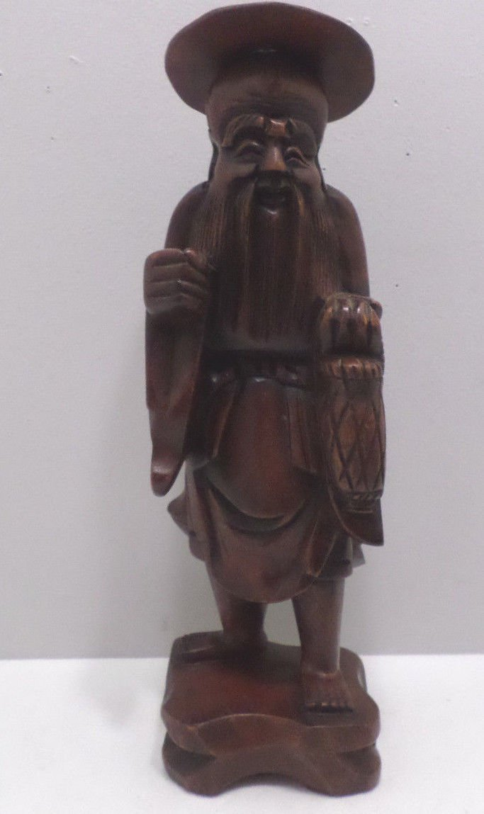 Chinese Hand Carved Teak Wood Man Statue Artist Initials Carved/Back