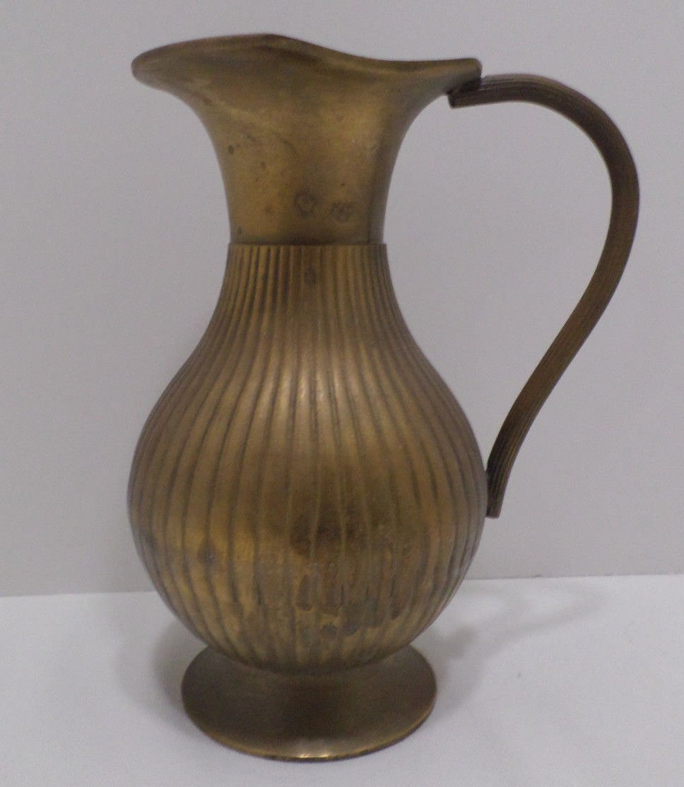 Vintage Solid Brass Water Pitcher
