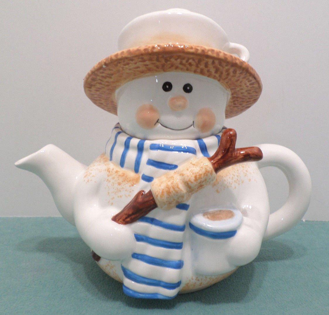 Porcelain Tea Pot Christmas Snowman Hot Chocolate with Marshmallows Ceramic