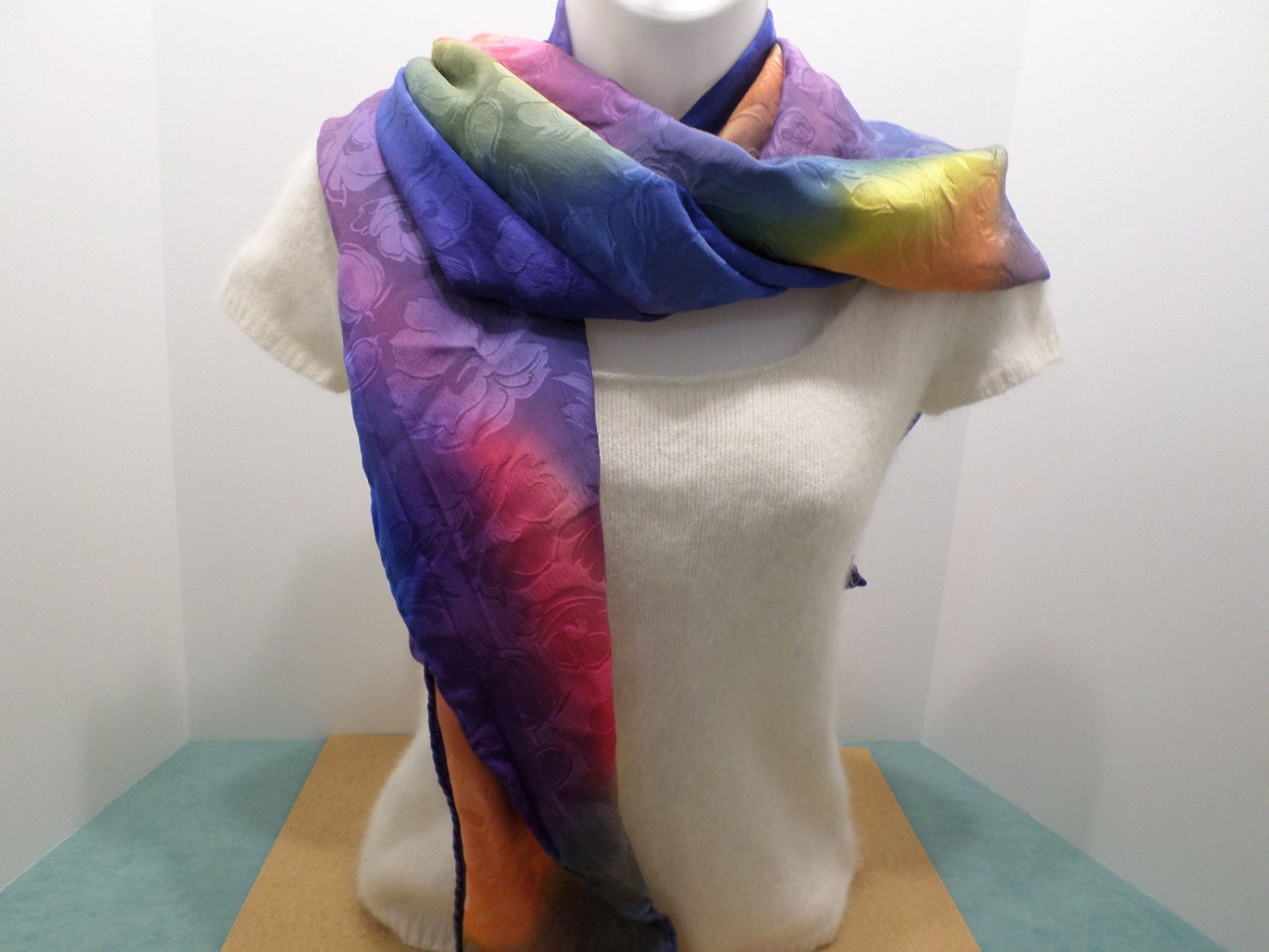 Womens Scarf Wrap Polyester Tye Dyed Multi Colored Vintage