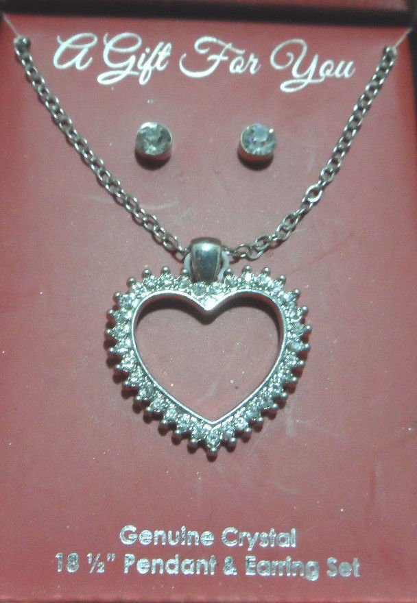 Necklace and Earring Set Genuine Crystal Pendant Silver Tone Metal Chain
