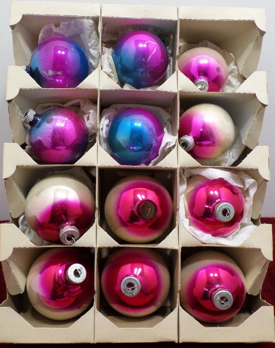 Shiny Brite Christmas Tree Ornaments Glass Multi Colored Bulbs USA Original Box