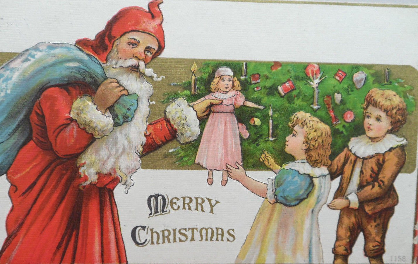 Antique Christmas Postcard Santa Claus Embossed Divided Posted Germany 1908