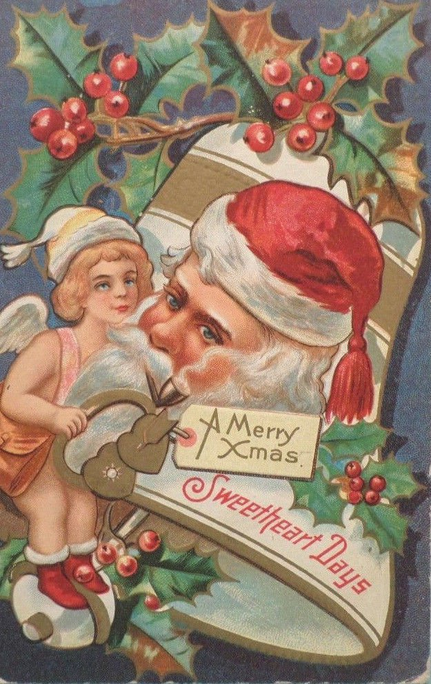 Antique Christmas Postcard Santa Claus Embossed Divided Unposted