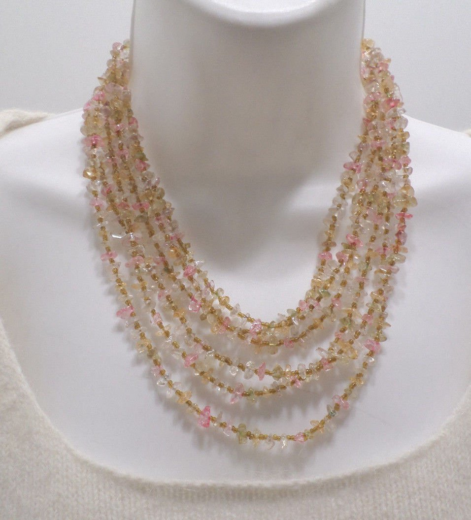 """Three Strand Necklace with Gemstone Beads 38"""" Long"""