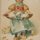 Antique Easter Postcard LIttle Dutch Girl Eggs Baby Chicks Germany