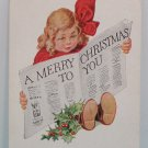 Antique Christmas Postcard Little Girl Reading Newspaper Embossed Unposted