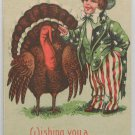 Antique Thanksgiving Postcard Uncle Sam Turkey  Unposted Divided