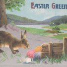 Antique Easter Postcard Rabbit Colored Eggs Posted Divided Embossed