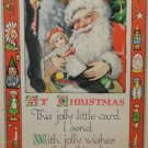 Antique Christmas Postcard  Santa Claus Gibson Art Company Divided Posted USA
