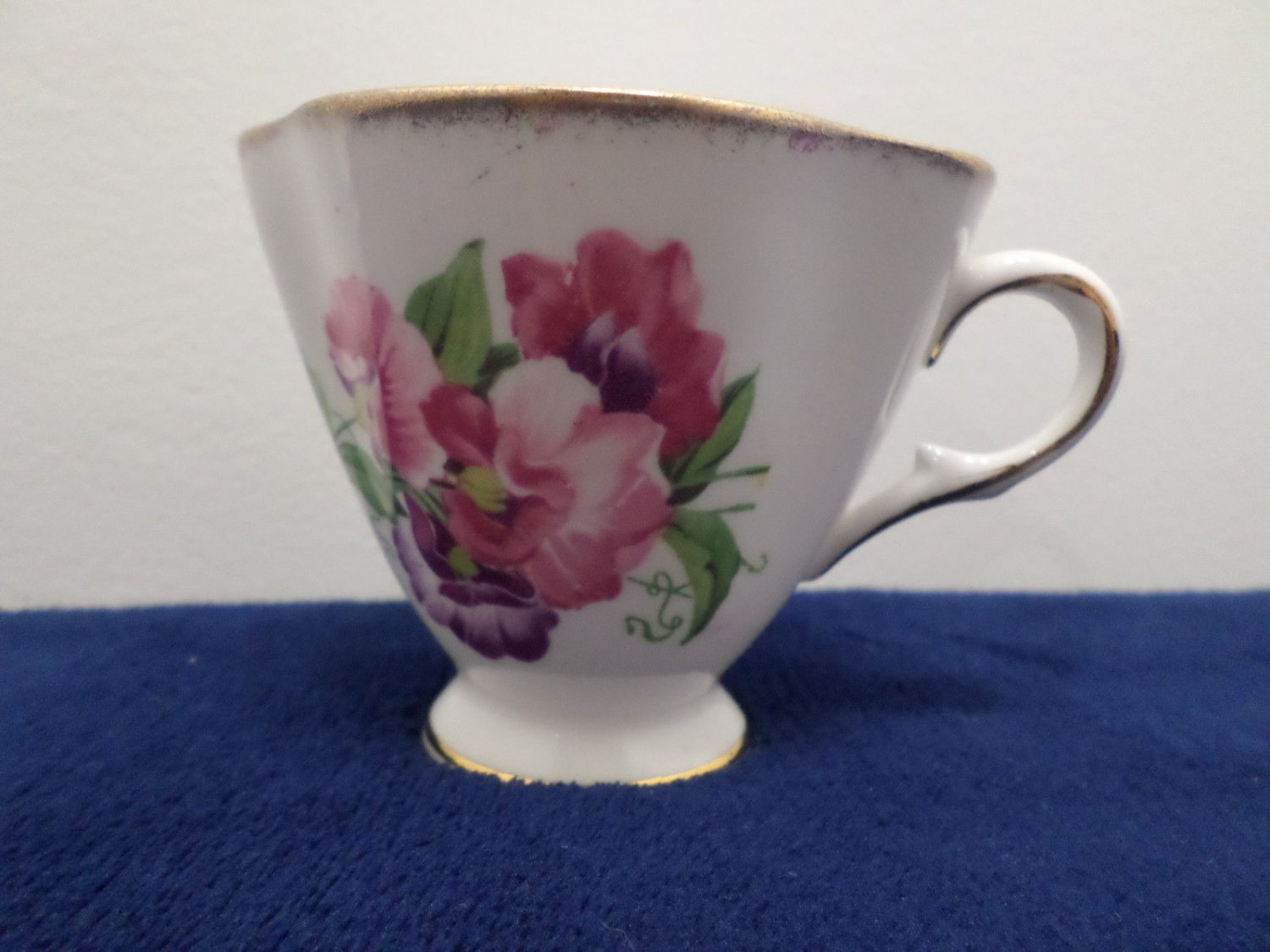 Bone China Tea Cup Purple Flower Accented in 22K Gold made in England