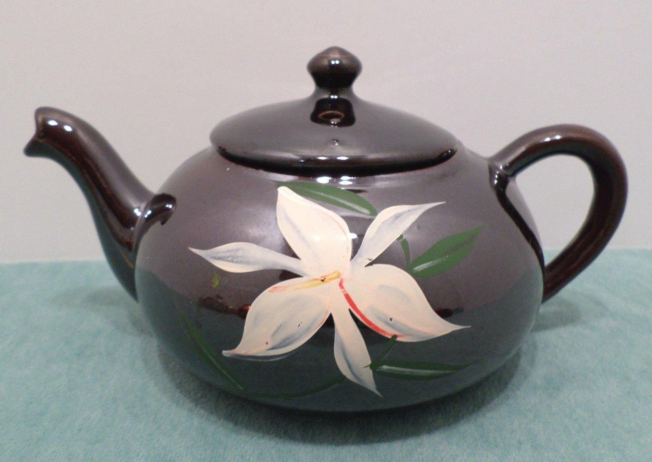 Vintage Tea Pot Brown Glaze Pottery with a White Flower