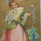 Antique Valentines Postcard of a  Little Girl Embossed Divided and Posted 1910