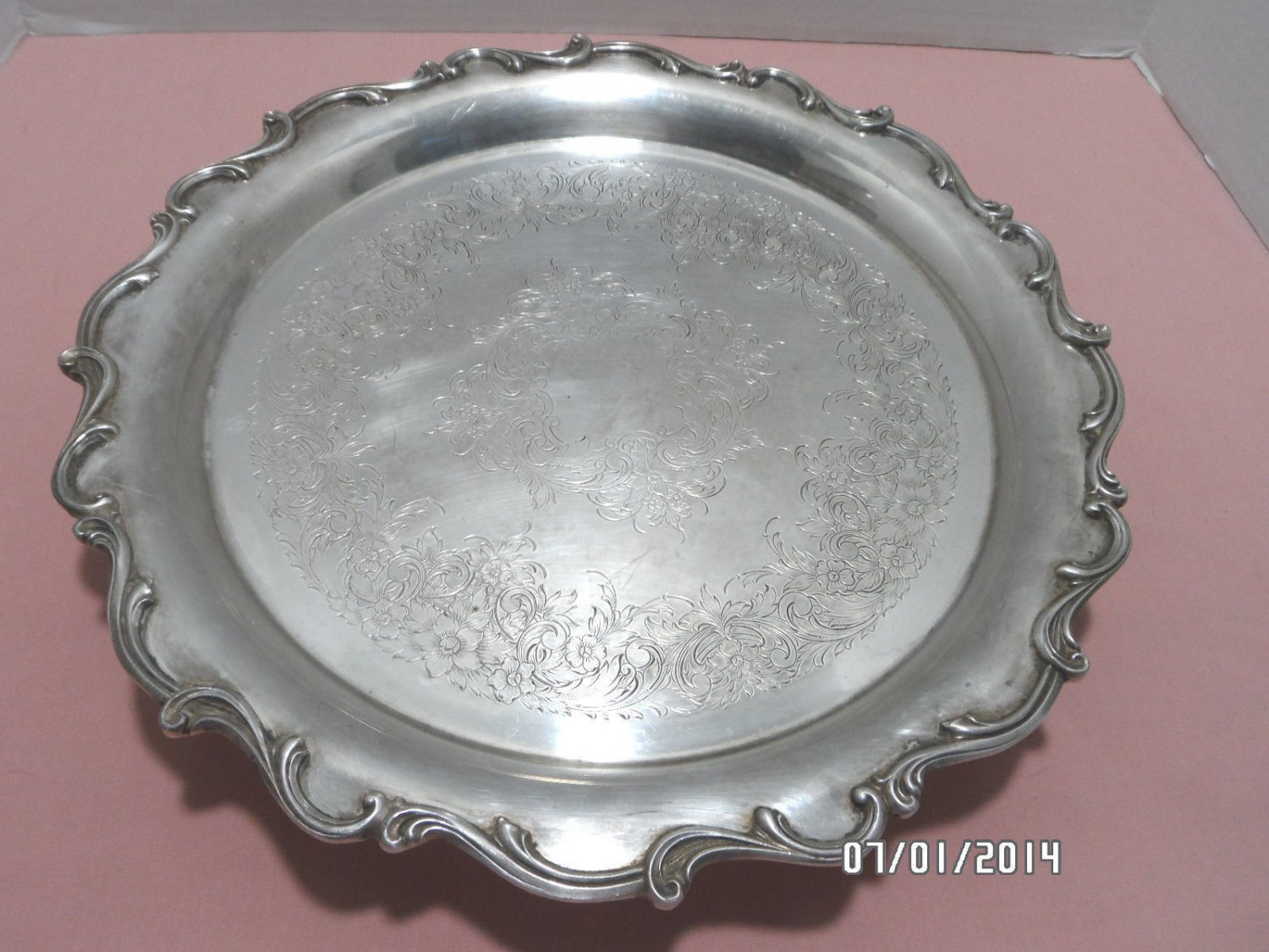 Serving Tray Silver Plated Footed Floral Design Ornate Edges Vintage