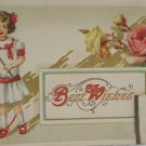 Antique Best Wishes Postcard has a photograph Embossed, Unposted, Divided