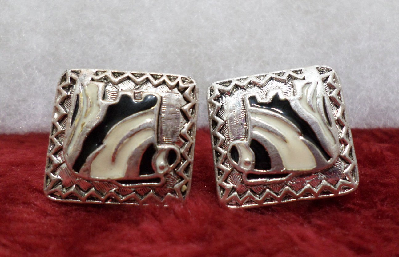 Vintage Earrings Clip On Silver Tone Metal