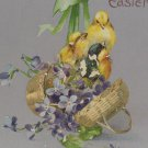 Antique Easter Postcard Baby Chicks Basket Germany Embossed Unposted Divided