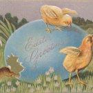 1910 Easter Postcard Rabbit Chicks Egg Embossed Posted Divided