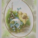 Antique Easter Postcard Chick Egg Embossed Posted Divided