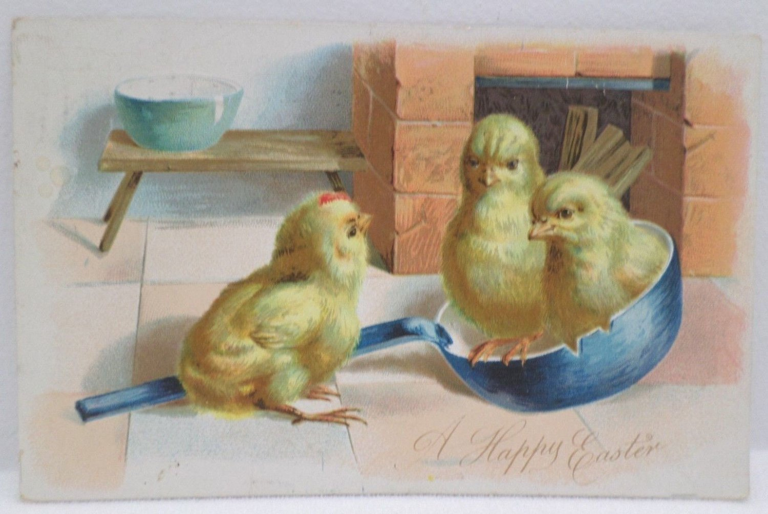 Antique Easter Postcard Baby Chicks Raphael Tuck Embossed Undivided Posted