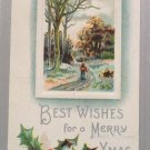 1910 Christmas Postcard Country Scene Holly Embossed Posted Divided