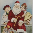Antique Santa Claus Postcard Holding a Candy Cane Sitting With Kids