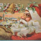 Christmas Postcard Santa Claus has Furry Brown Hands Embossed Posted