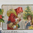 Antique Christmas Postcard Santa Claus Talking to Little Girls Embossed Unposted