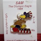 1984 Collector Pin Los Angeles Olympics Sam the Eagle Cloisonne New on Card