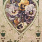 Valentines Postcard Heart with Flowers John Winsch Germany 1910