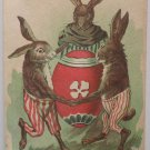Antique Easter Postcard Humanized Rabbits with an Easter Egg Unposted Divided