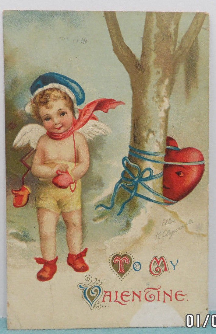 Antique Valentine Postcard Angel Red Heart Divided Embossed Posted Germany