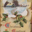 Christmas postcard rustic country snow scene embossed unposted divided