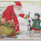 Antique Christmas Postcard Santa Claus Two Children and a Dog Unposted