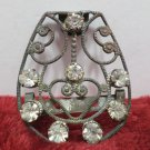Vintage Sweater Clip Silver Tone Metal with Rhinestones