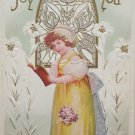 Antique Easter Postcard Little Girl Lilies Embossed Posted Divided