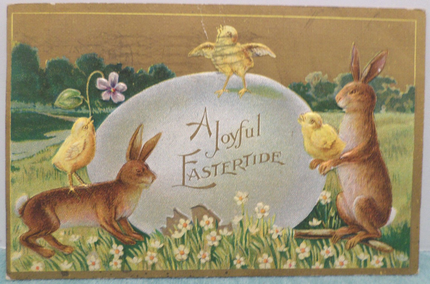 1910 Easter Postcard Bunny Chicks Egg Embossed Posted Divided