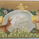 1910 Easter Postcard Bunny Chicks Egg Embossed Posted Divided