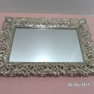 Large Vanity Tray Mirror with ornate Brass Edges Vanity Perfume Tray
