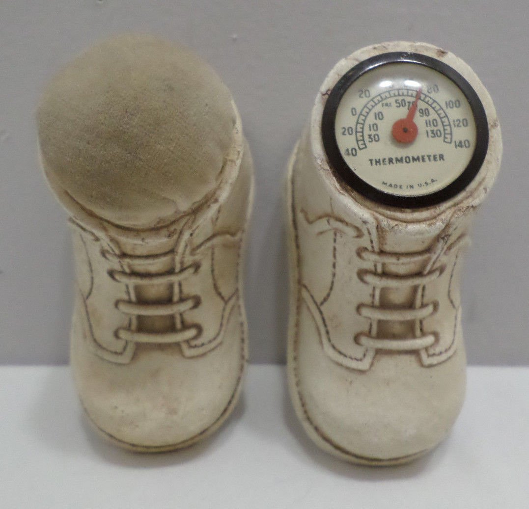 Vintage Thermometer and Pin Cushion Wooden Baby Shoes  Design