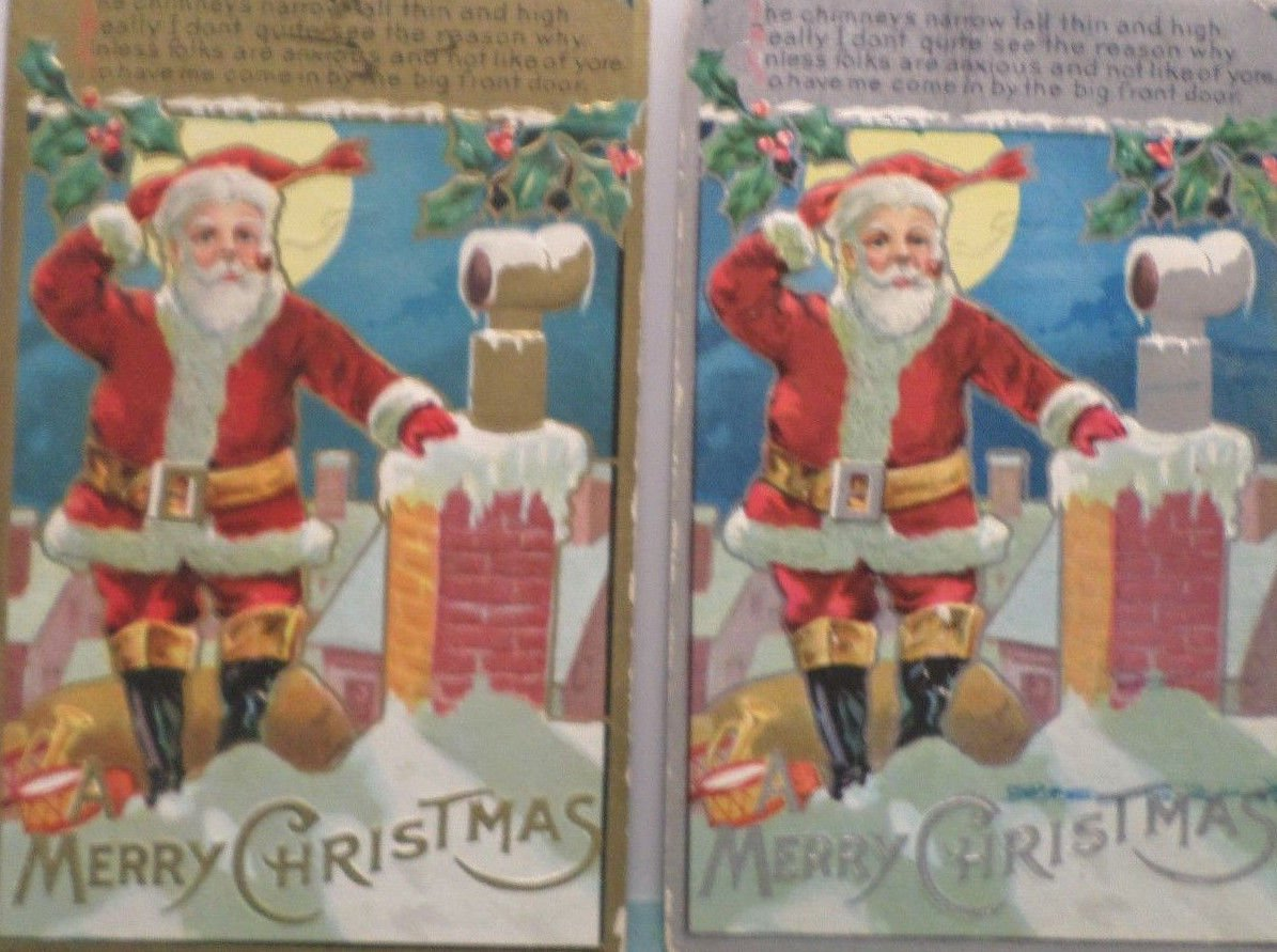 Antique Christmas Postcards Santa Claus Standing by Chimney Smoking his Pipe