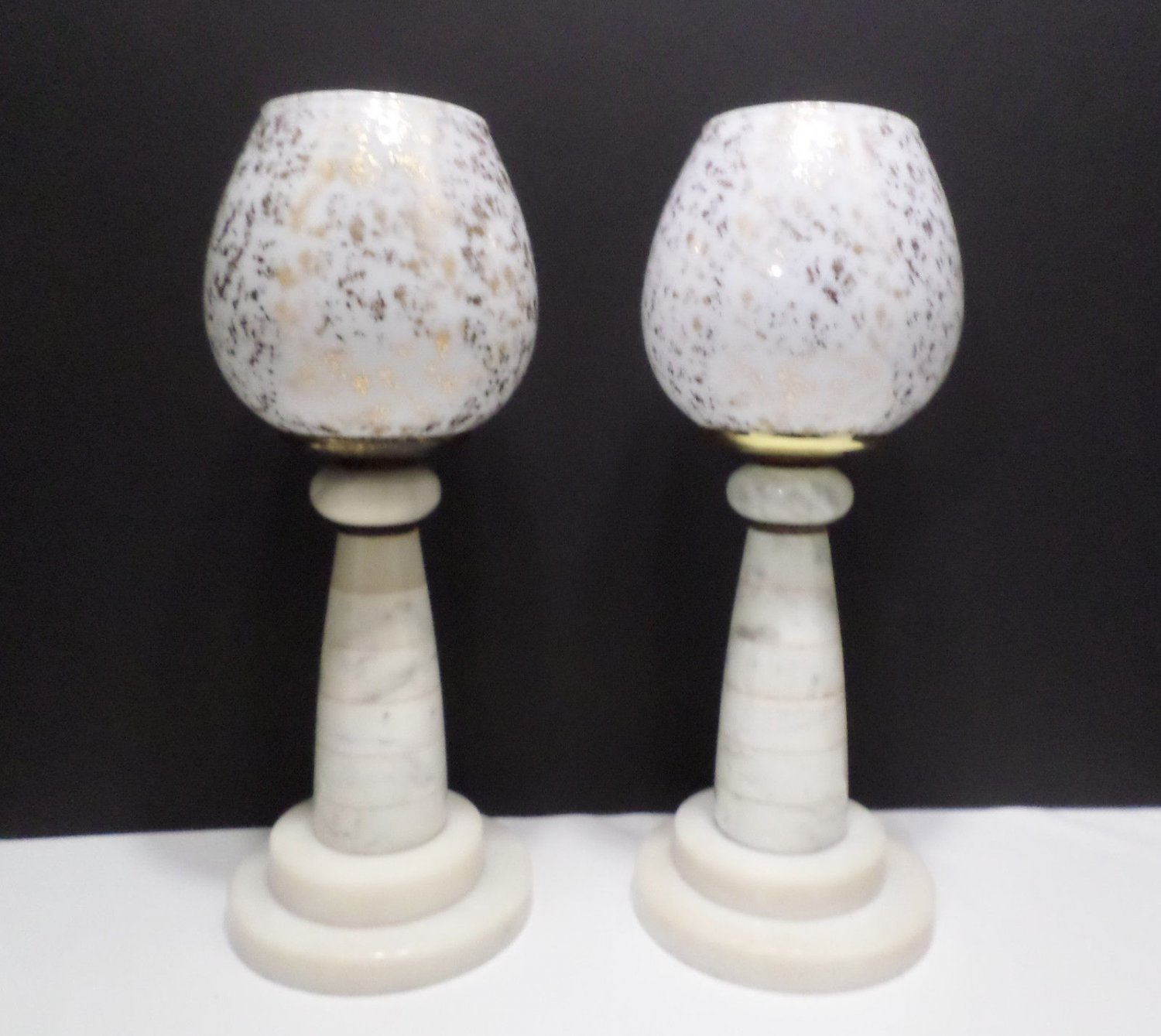 Two Candle Holder Lamps Marble Base White Glass Candle Holders