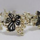 Bracelet Sarah Coventry Gold Tone Metal Black Enamel Flowers Costume Jewelry
