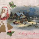 Antique Christmas Postcard Santa Claus Embossed Posted Divided