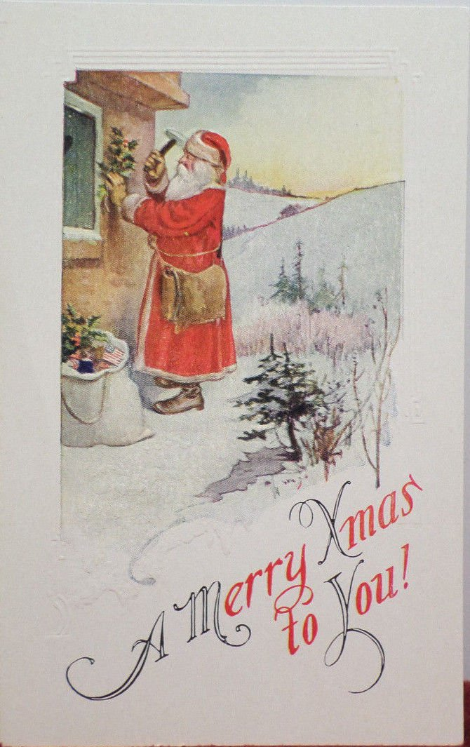 Antique Christmas Postcard Santa Claus Divided Unposted made in the USA