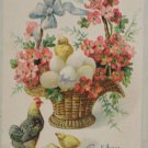 Antique Easter Postcard Baby Chicks Eggs Hen Germany Embossed Posted Divided