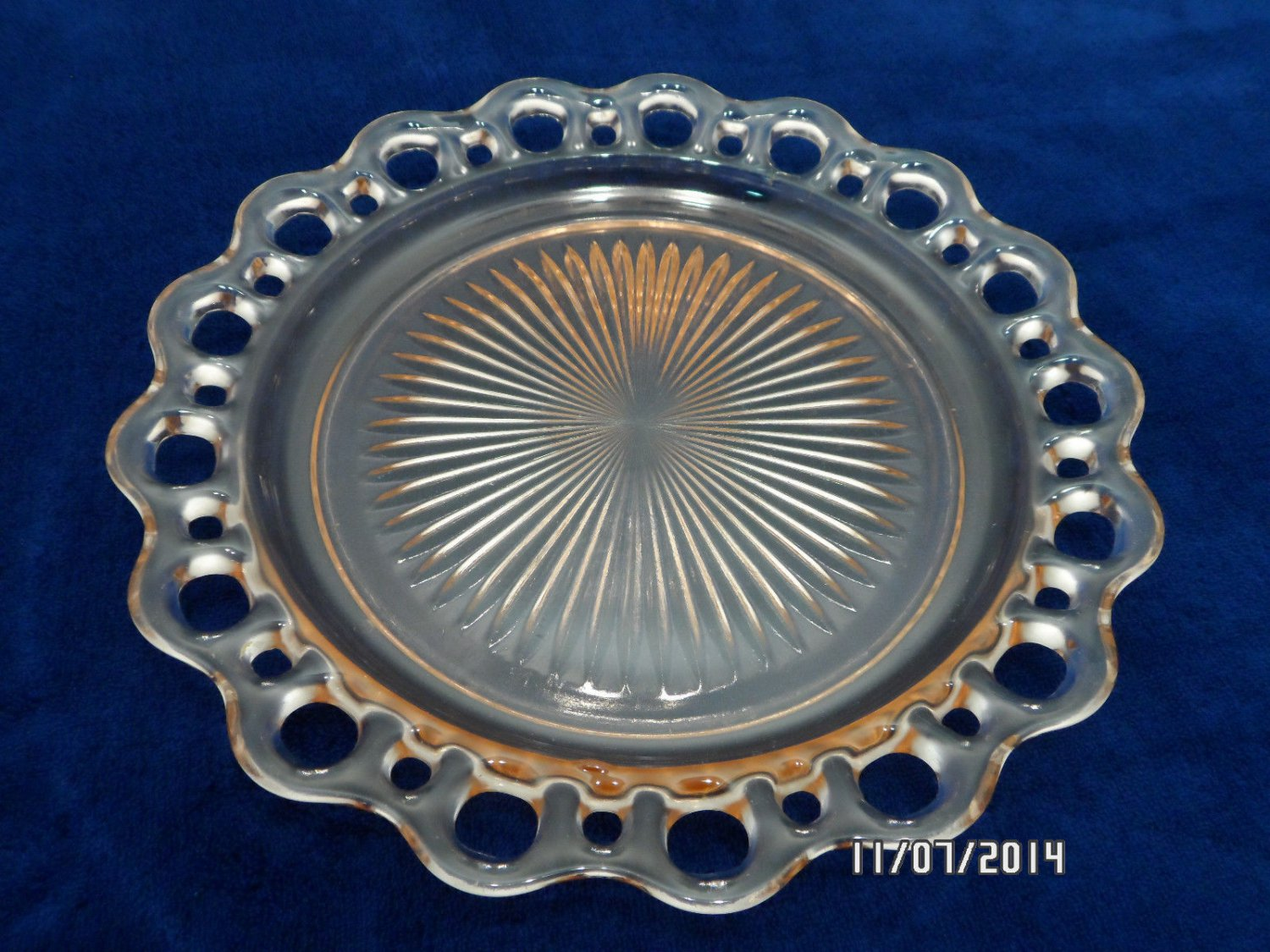 Old Colony Dinner Plate Pink Glass Open Lace Pattern Anchor Hocking