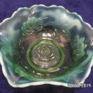 Antique Fenton Candy Bowl Green Opalescent Water Lily and Cattails Pattern