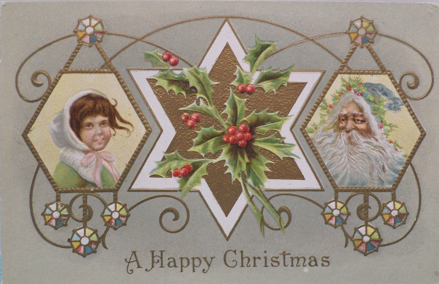 Antique 1910 Christmas Postcard Santa Claus Embossed Posted Divided USA