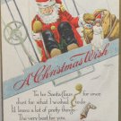 Antique Christmas Postcard Santa Claus Flying an Airplane Posted Divided